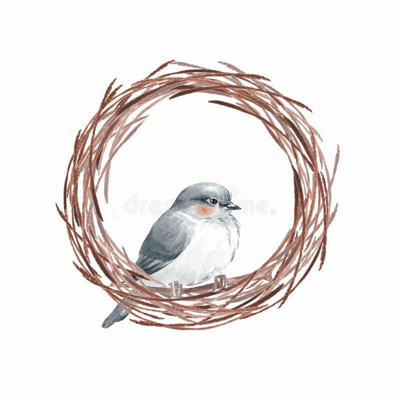 Ptak i gniazdeczko ilustracja wektor