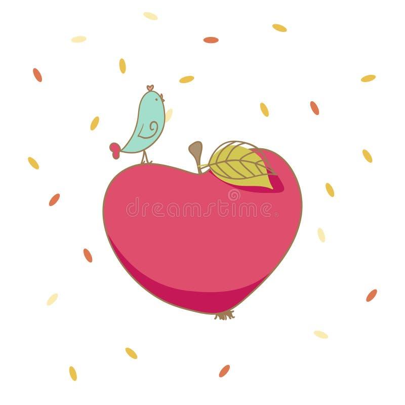 Ptak i jabłko (serce) ilustracji