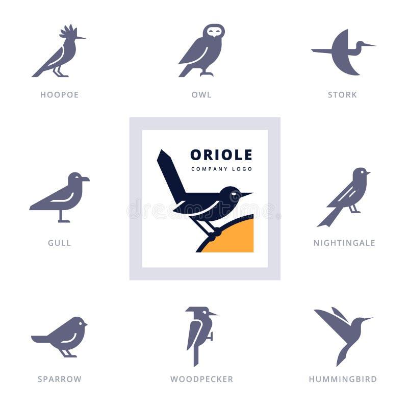 Ptak ikona ustawiająca dla znaka nasz firma royalty ilustracja