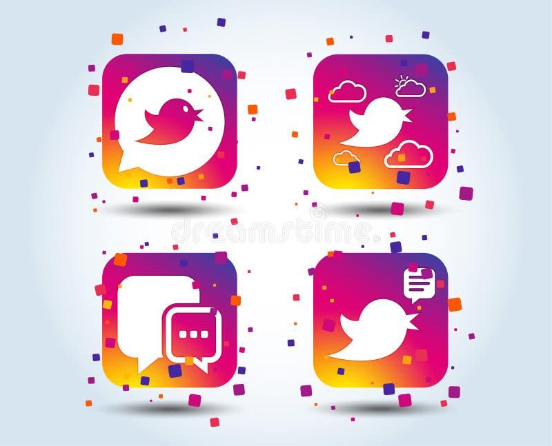Ptak ikony Ogólnospołeczny Medialny mowa bąbel royalty ilustracja