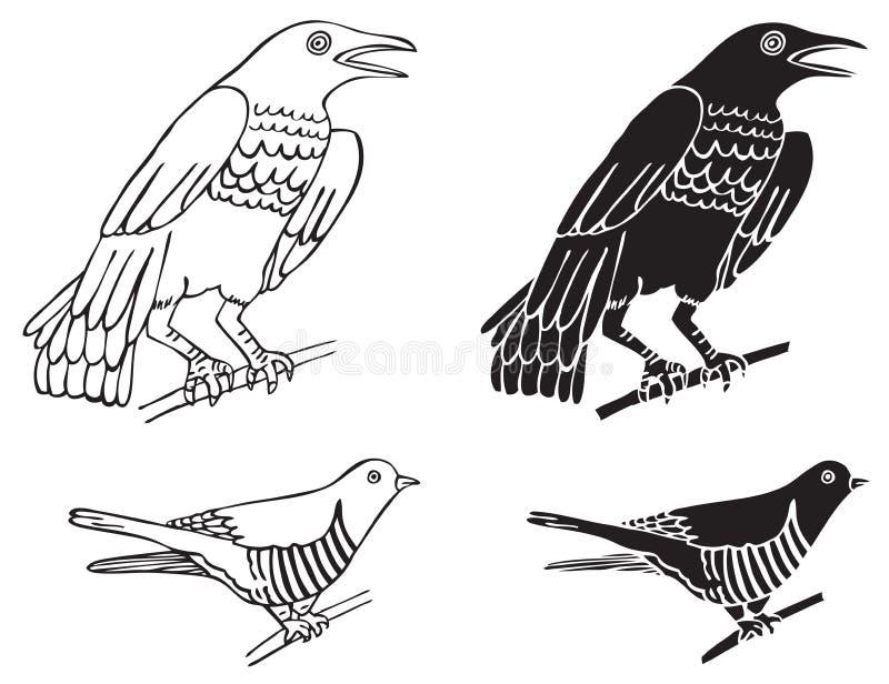 Ptak kukułka i wrony ilustracja wektor