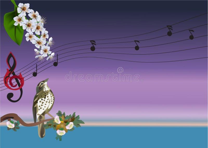 ptak kwitnie ilustracyjnego śpiew ilustracja wektor