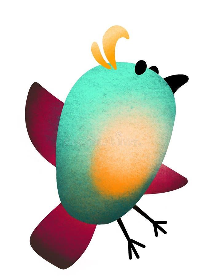 ptak Ma ochotę patroszonego, stylizowanego ptaka na białym tle, royalty ilustracja
