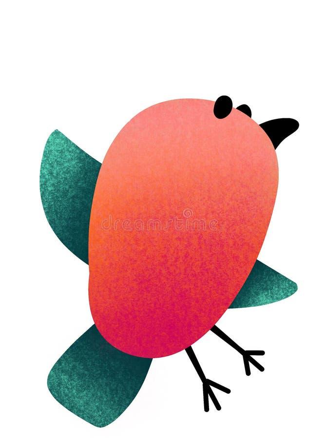 ptak Ma ochotę patroszonego, stylizowanego ptaka na białym tle, ilustracji