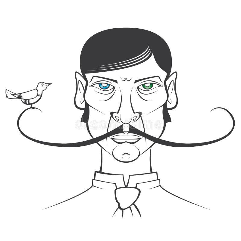 Ptak na wąsy ilustracja wektor