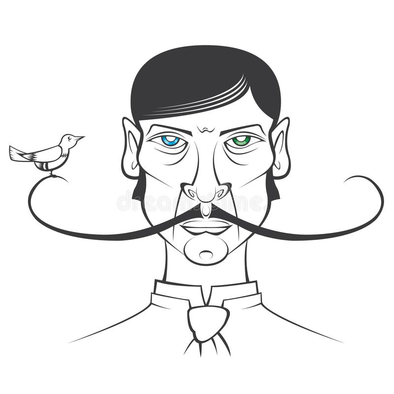 Ptak na wąsy royalty ilustracja