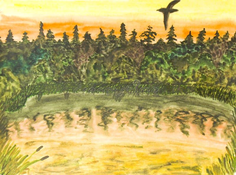 Ptak na zmierzchu, watercolours ilustracji