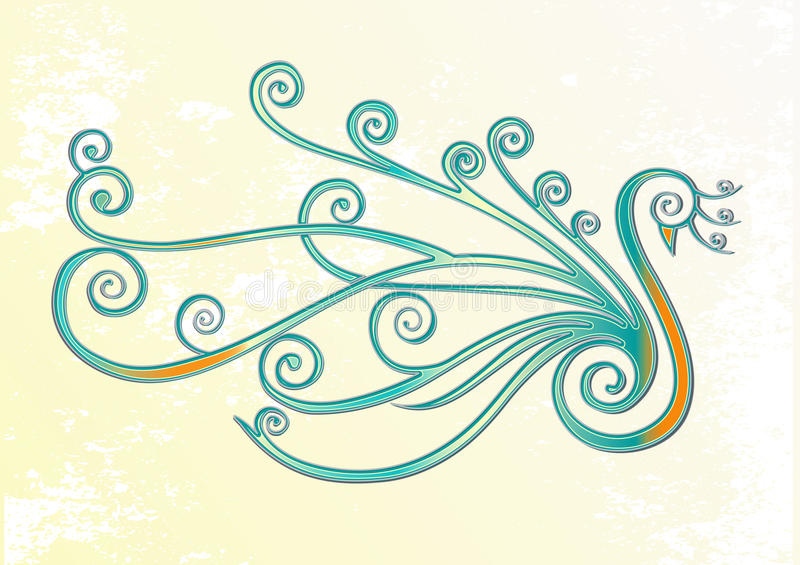 Ptak, paw w zawijasach ilustracji