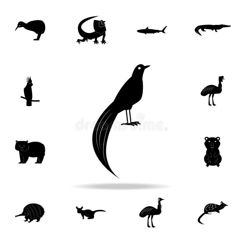 Ptak raj ikona Szczegółowy set Australijskie zwierzęce sylwetek ikony Premia graficzny projekt Jeden inkasowe ikony dla ilustracja wektor