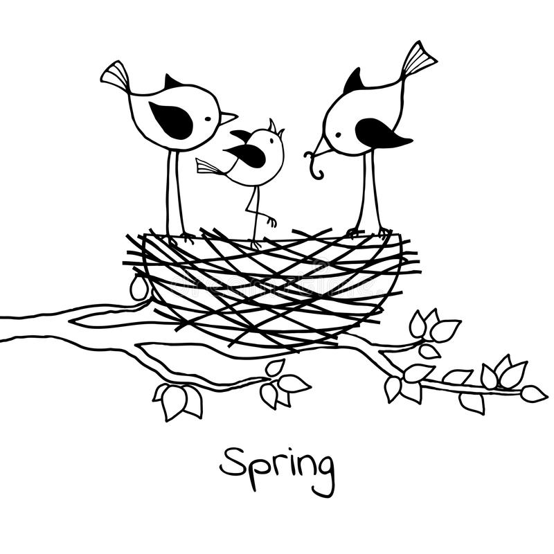 Ptak rodzina w gniazdeczku rodzice karmi ich gniazdownika royalty ilustracja