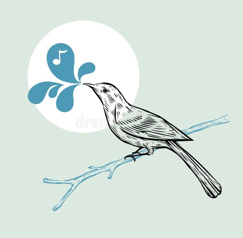 ptak rysująca ręka royalty ilustracja