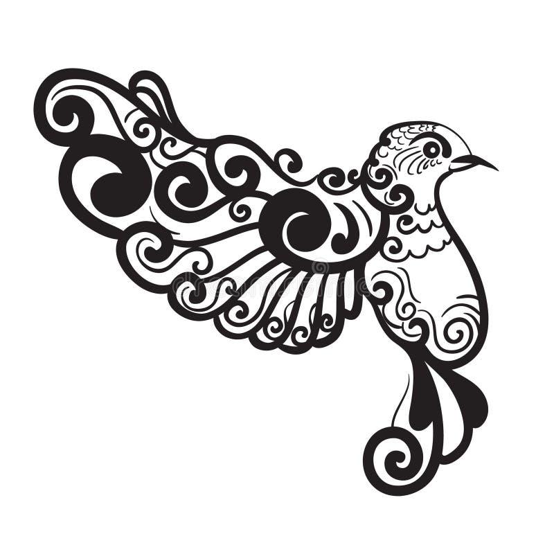 ptak stylizujący royalty ilustracja