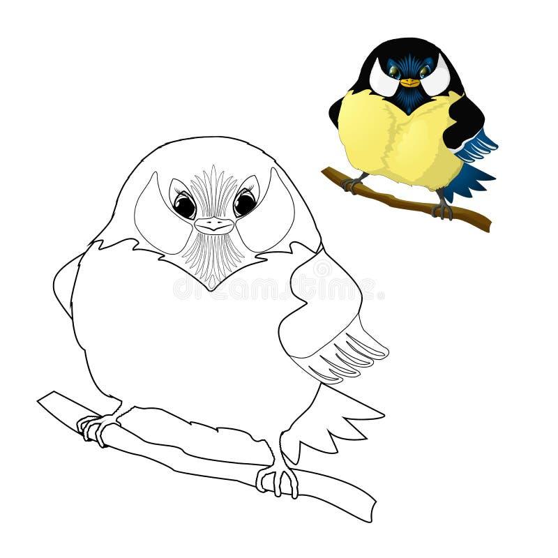 Ptak - titmouse kolorystyka dla dzieciaków royalty ilustracja