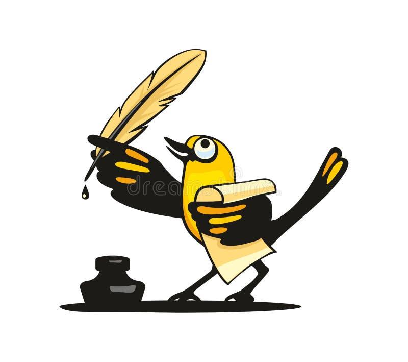 Ptak trzyma piórko w skrzydle Wektorowy mieszkanie royalty ilustracja