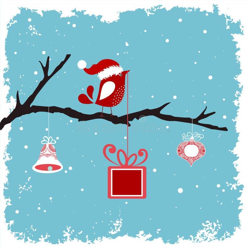 Ptak w Santa kapeluszu na gałąź ilustracji