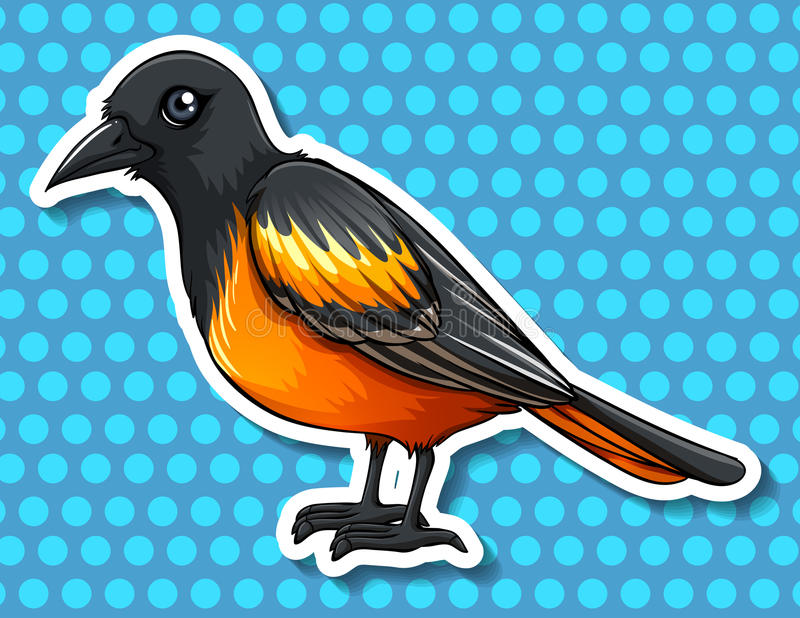 Ptak z czerni i koloru żółtego piórkiem ilustracji