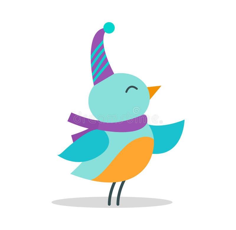 Ptak z kapeluszem i szalikiem na Wektorowej ilustraci ilustracji