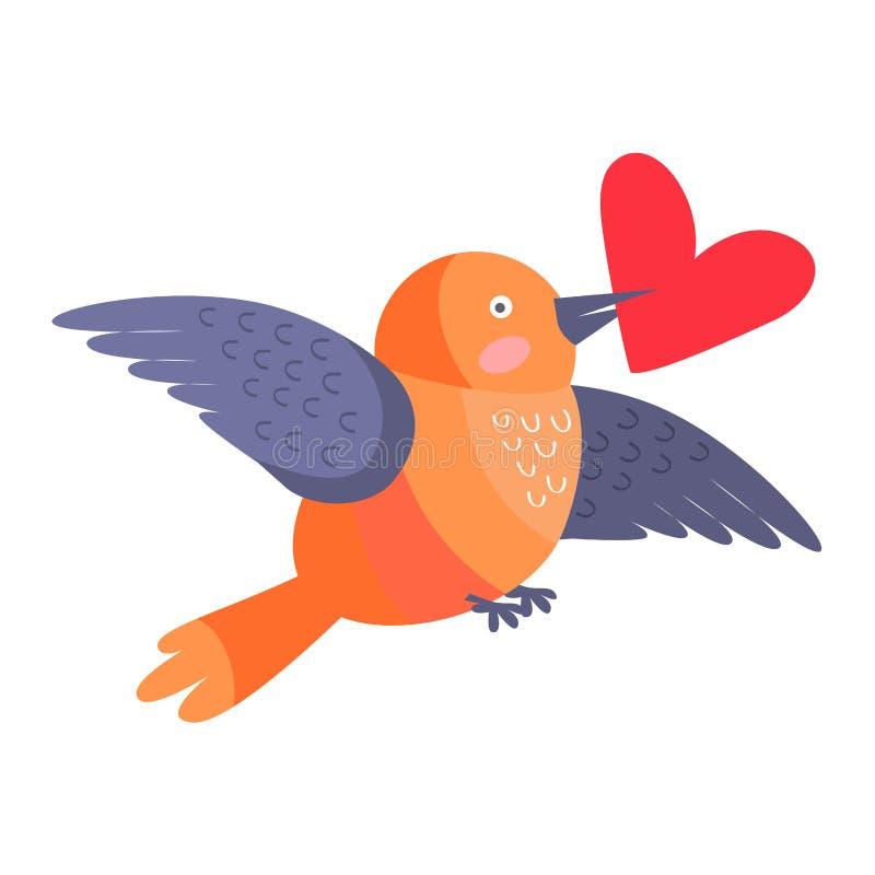 Ptak z sercem w belfra lataniu Odizolowywającym na bielu royalty ilustracja