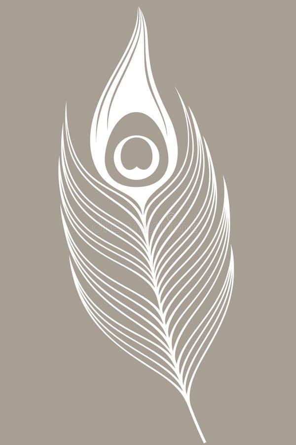 ptaka biel miły pawi rzadki Piórko ilustracja wektor