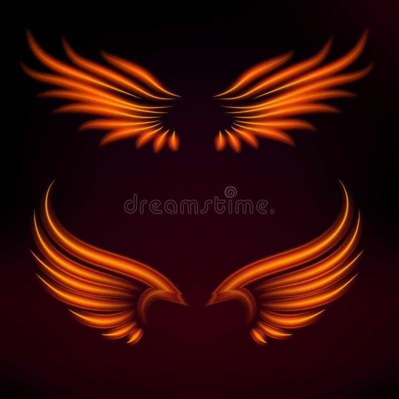 Ptaka ogienia skrzydeł fantazi piórka wektorowy palenie lata mistyczka jarzeniowego ognistego oparzenie sztuki gorących skrzydła  royalty ilustracja