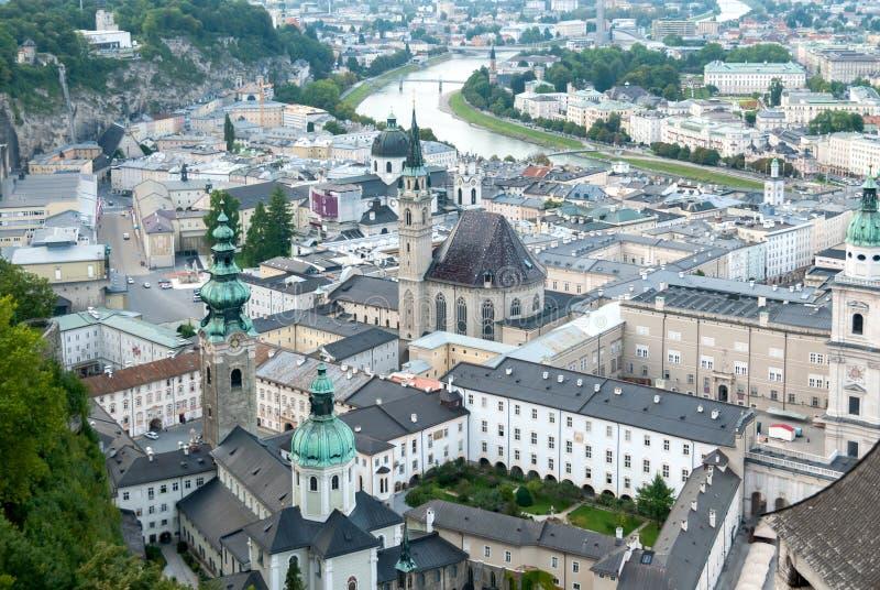 Ptaka oka widok Salzburg, Austria zdjęcie stock