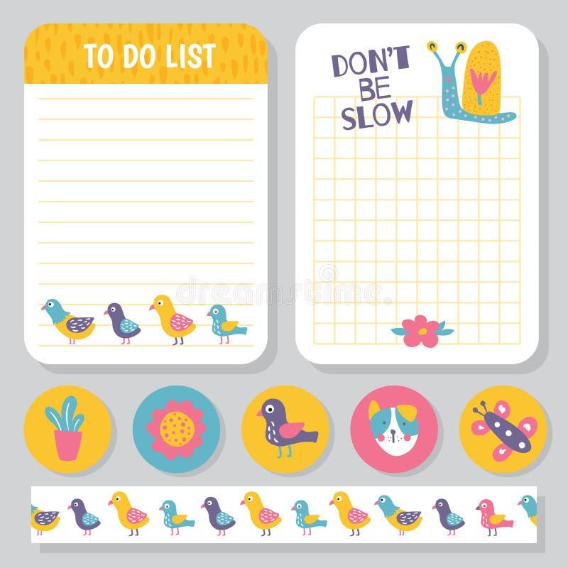 Ptaka planisty notatki ilustracji