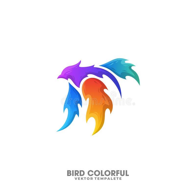 Ptaka projekta Pożarniczy Kolorowy Ilustracyjny Wektorowy szablon royalty ilustracja