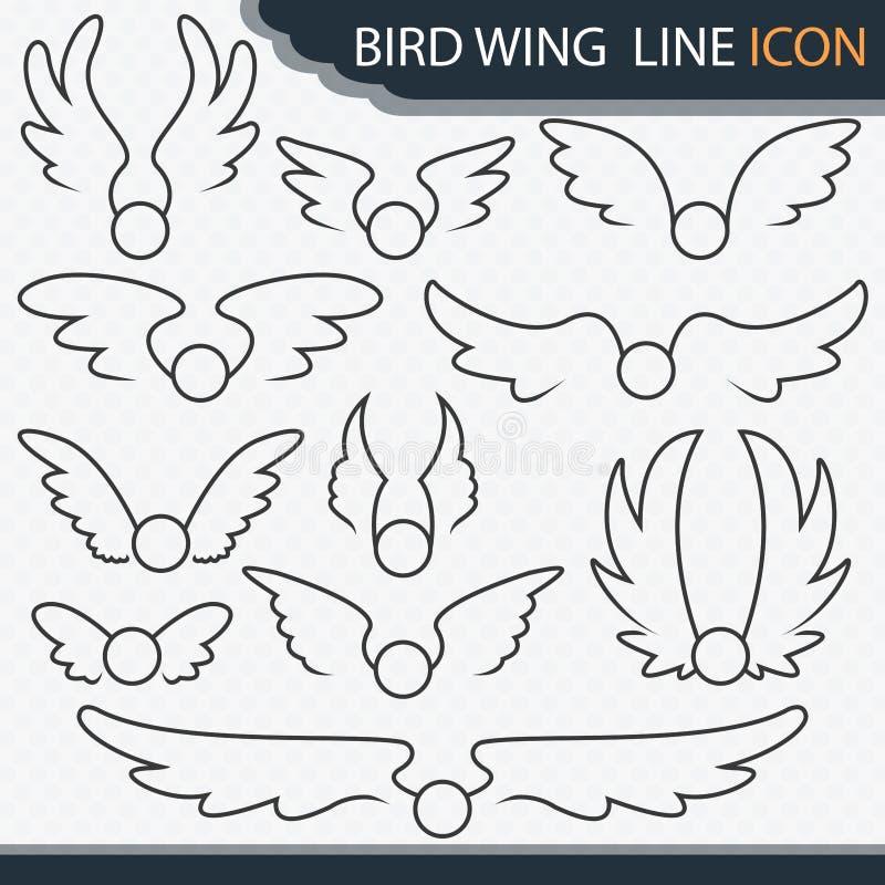 Ptaka skrzydła linii ikona - wektor ilustracji