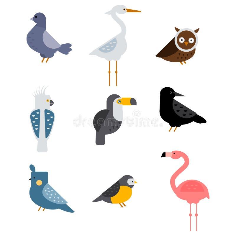 Ptaka wektoru ustalona ilustracja odizolowywająca royalty ilustracja