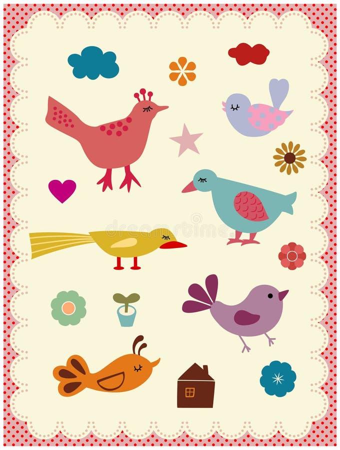 ptaki śliczni ilustracja wektor