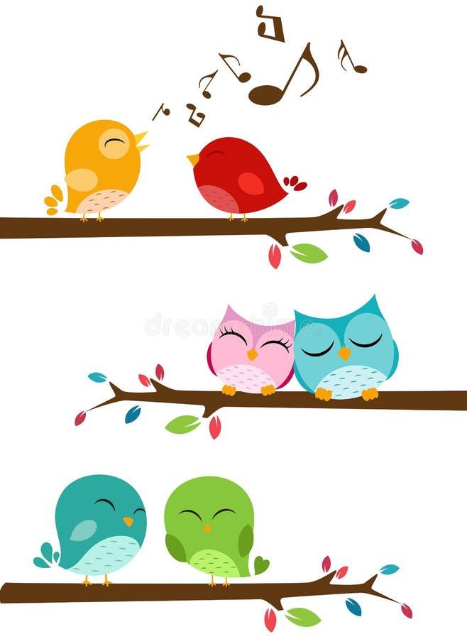 Ptaki śpiewa na gałąź ilustracja wektor