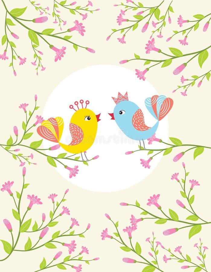 Ptaki śpiewa w wiosna czasie ilustracja wektor
