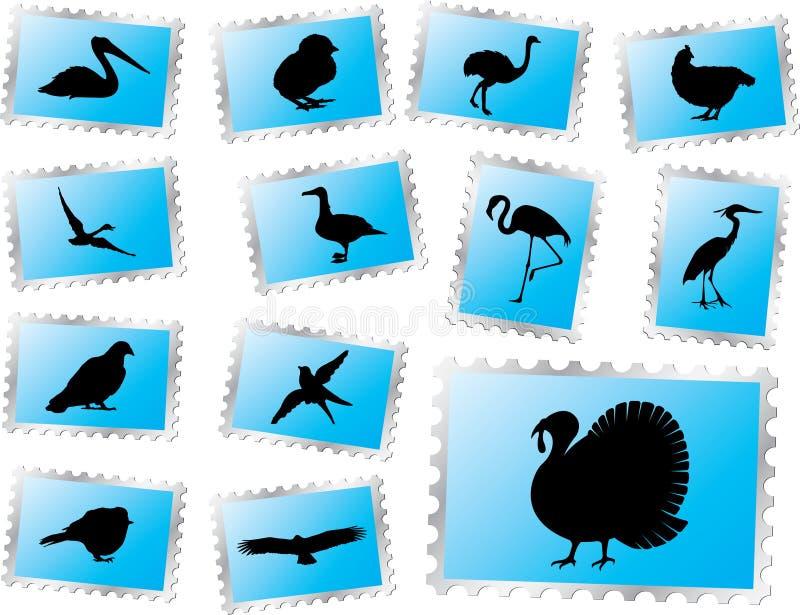 ptaki 69 ustalonych znaczków royalty ilustracja