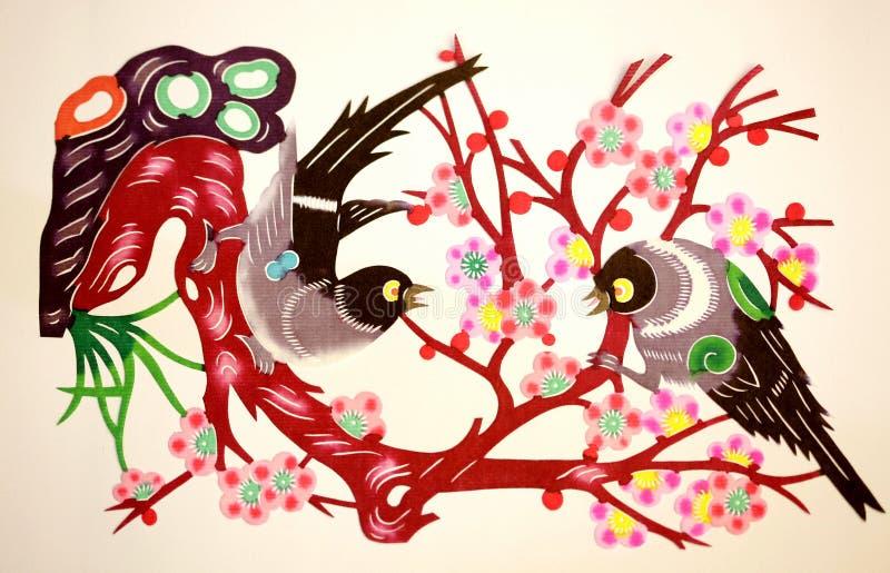 ptaki ciący kwiatów papier royalty ilustracja