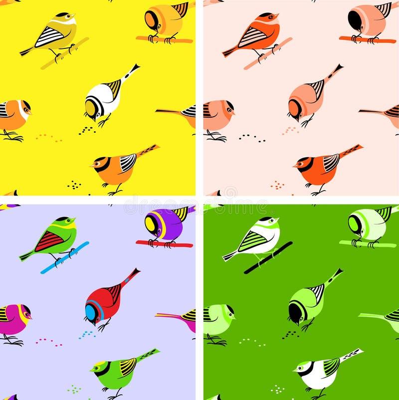 ptaki deseniują bezszwowe płytki ilustracja wektor