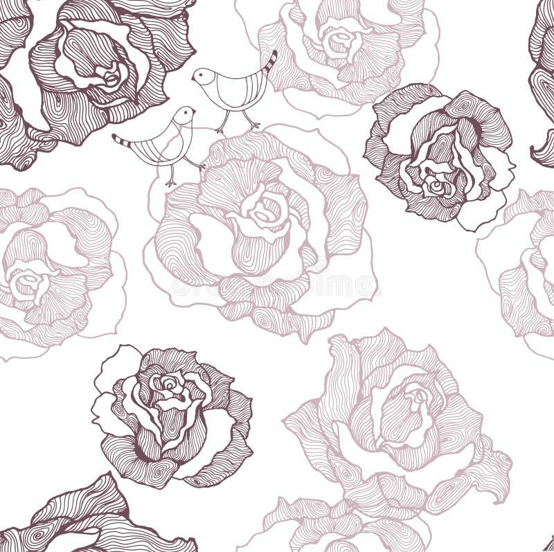 ptaki deseniują róże ilustracja wektor