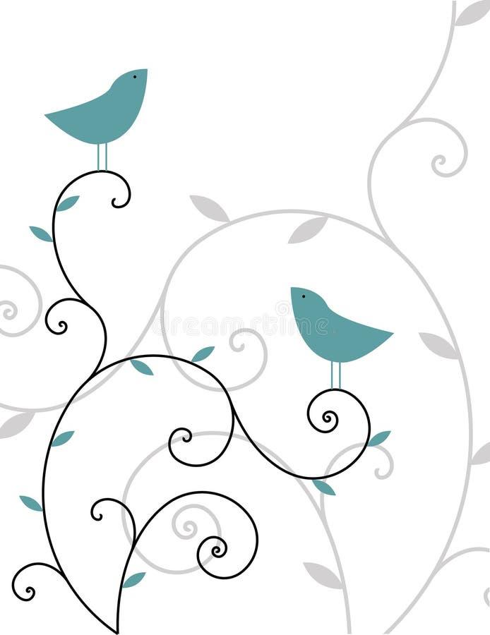 Download Ptaki dwa ilustracja wektor. Obraz złożonej z śpiewa, foremność - 7184068