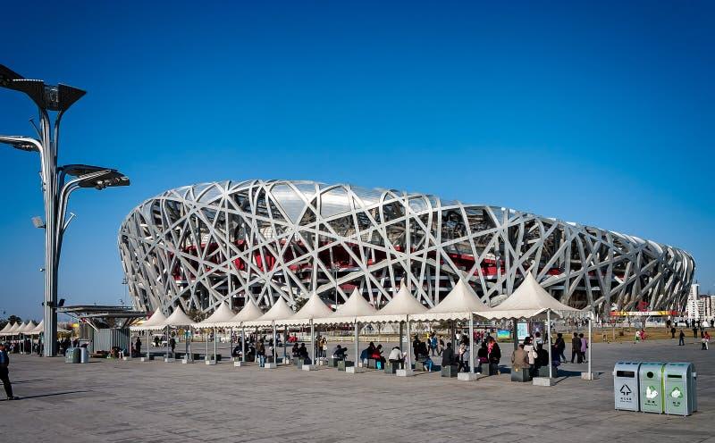 Ptaki Gniazdują stadium budującego dla 2008 olimpiad w Pekin, Chiny obraz stock