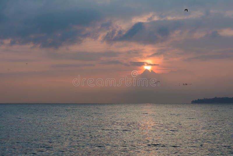 Ptaki Gromadzą się latanie nad Jeziornym Lemanem z wschodem słońca behind Chmurnieją obraz royalty free