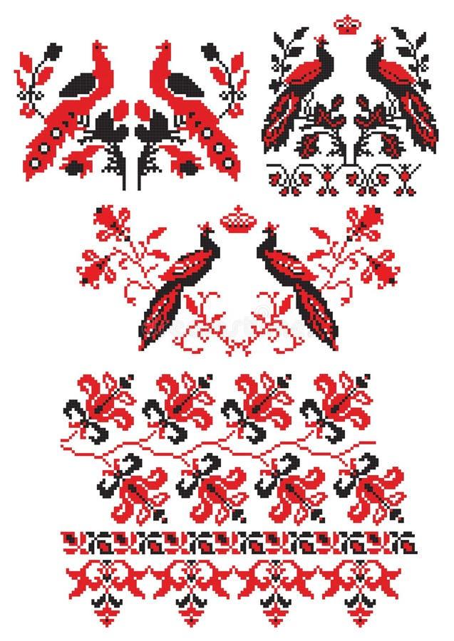 ptaki haftują ukrainian ilustracja wektor