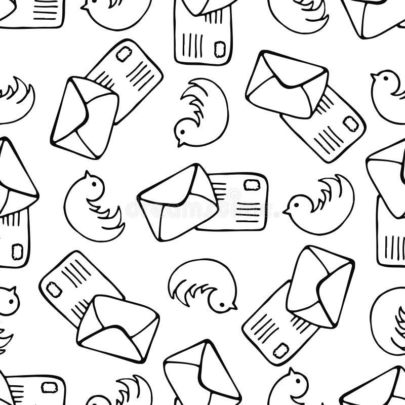 Ptaki i listowej poczta bezszwowy wzór Doodle poczta wektoru tło royalty ilustracja