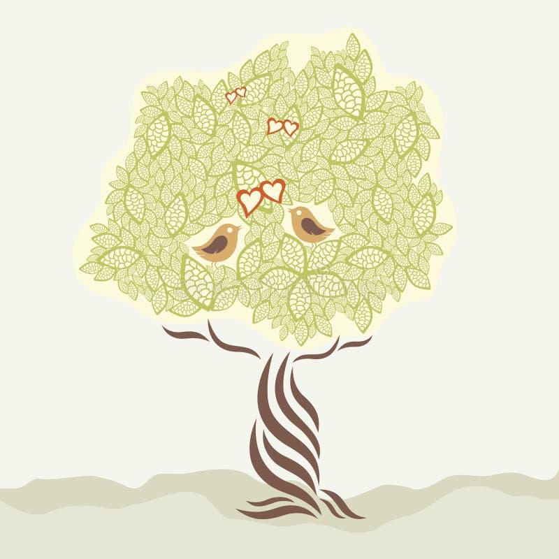 ptaki kochają stylizowanego drzewa dwa royalty ilustracja