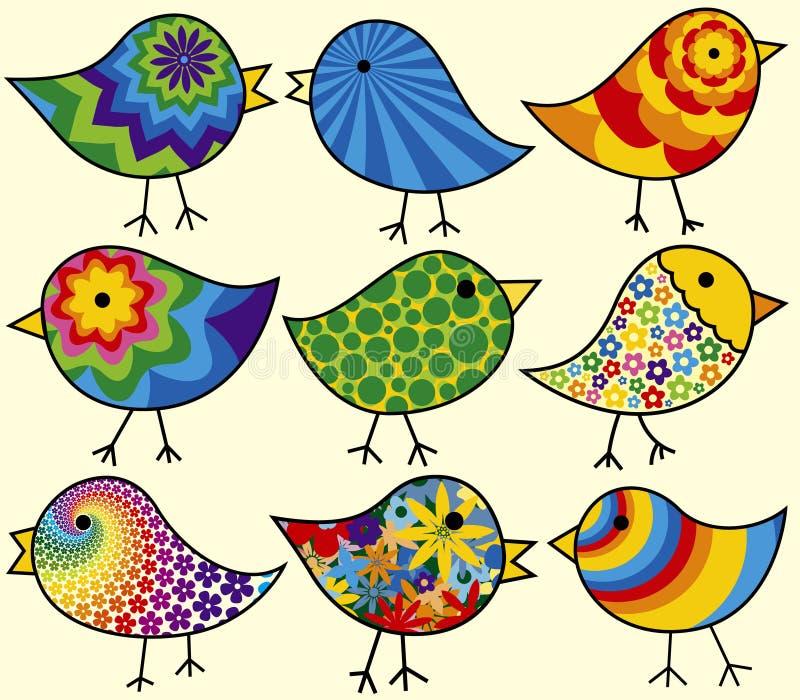 ptaki kolorowi dziewięć ilustracja wektor