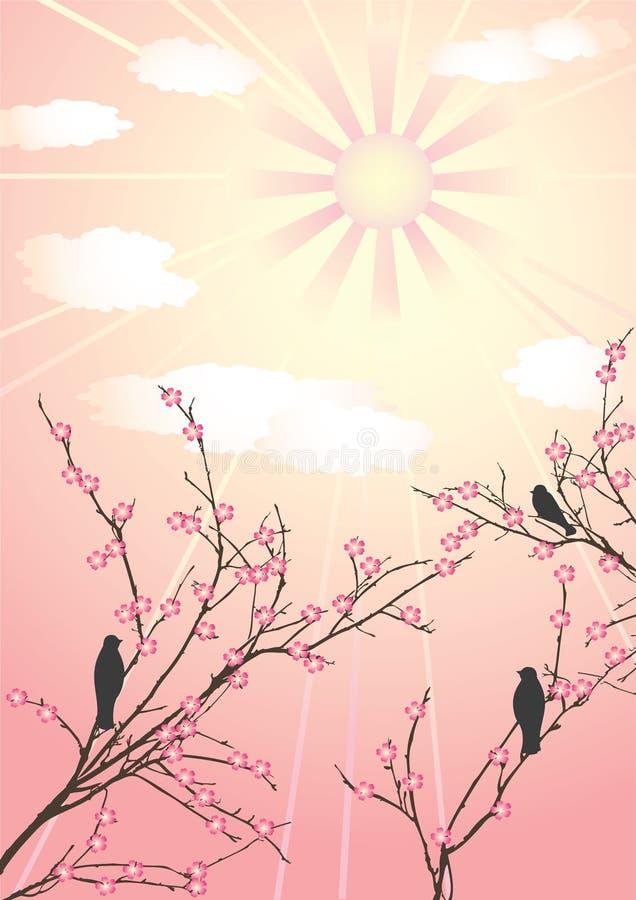 ptaki kwitną czereśniowego drzewa ilustracji