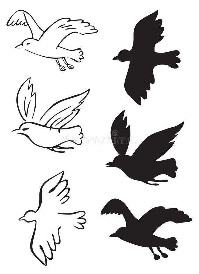 Ptaki lata sylwetki ilustracja wektor