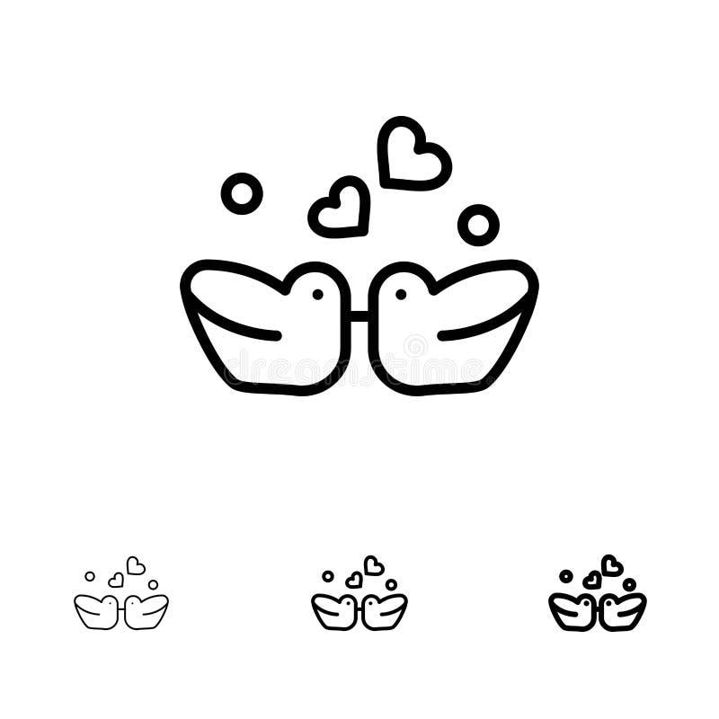 Ptaki, Lovebirds, para, kaczki Śmiałe i cienki czerni linii ikony set, ilustracji