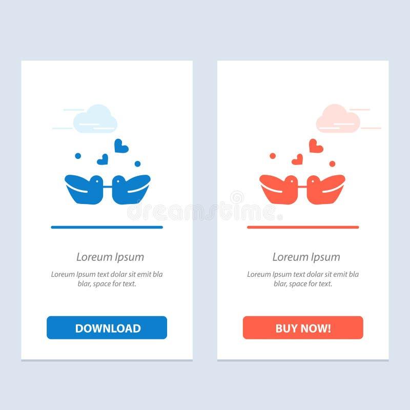 Ptaki, Lovebirds, para, kaczki Błękitne i Czerwonej sieci Widget karty szablon, ilustracji
