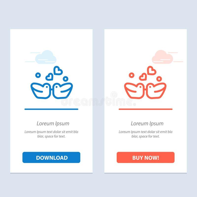 Ptaki, Lovebirds, para, kaczki Błękitne i Czerwonej sieci Widget karty szablon, royalty ilustracja