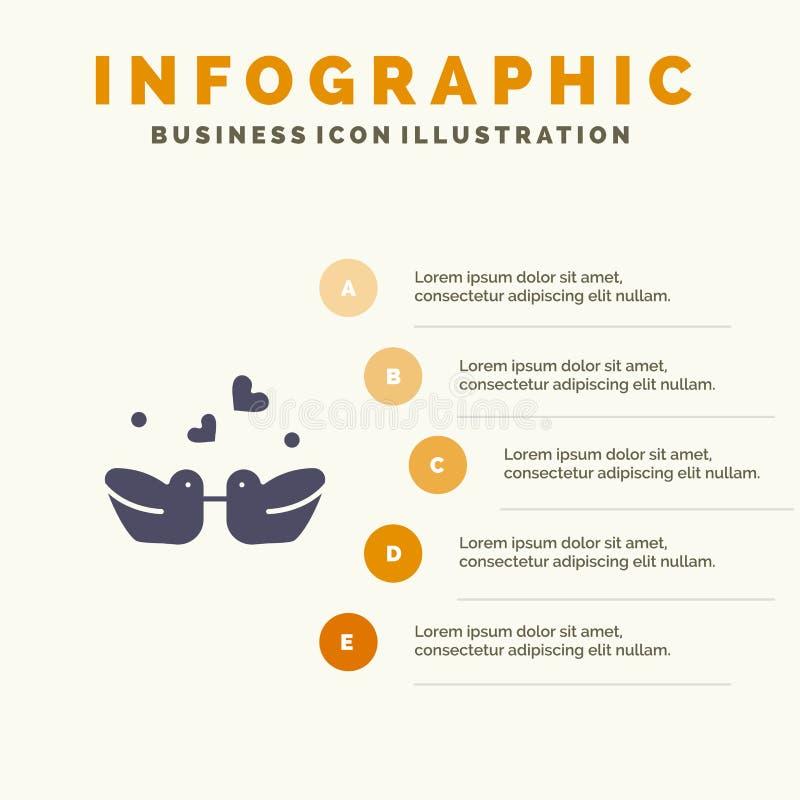 Ptaki, Lovebirds, para, kaczki ikony Infographics 5 kroków prezentacji Stały tło ilustracji
