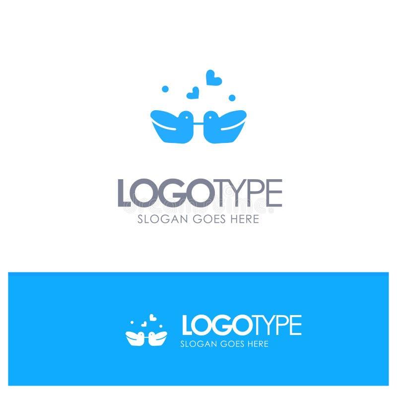 Ptaki, Lovebirds, para, Nurkują Błękitnego Stałego logo z miejscem dla tagline royalty ilustracja